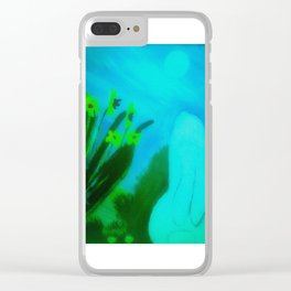Moon Gazing Hare Clear iPhone Case