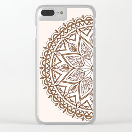 brown mandala with leaves Clear iPhone Case