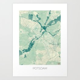 Potsdam Map Blue Vintage Art Print