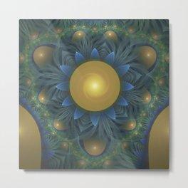 Beautiful Yellow-Green Fractal Sunflower of Egypt Metal Print