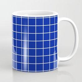 Indigo dye - blue color - White Lines Grid Pattern Coffee Mug