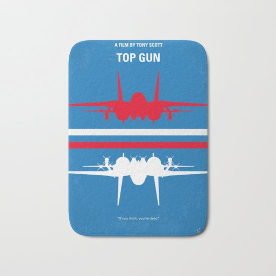No128 My TOP GUN minimal movie poster Bath Mat