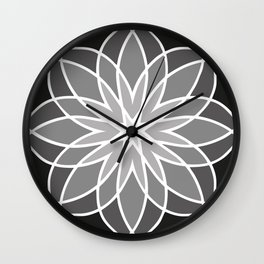 Shades of Grey | Abstract Flowers | Geometric Pattern | Black, Gray and White | Wall Clock