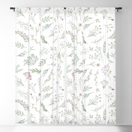 Ditsy Watercolor Flowers and Leaves Blackout Curtain