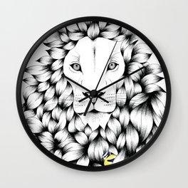 Beautiful Hand Drawn Lion Pointillism Illustration with Blue Tits Wall Clock