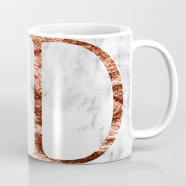 Monogram rose gold marble D Coffee Mug