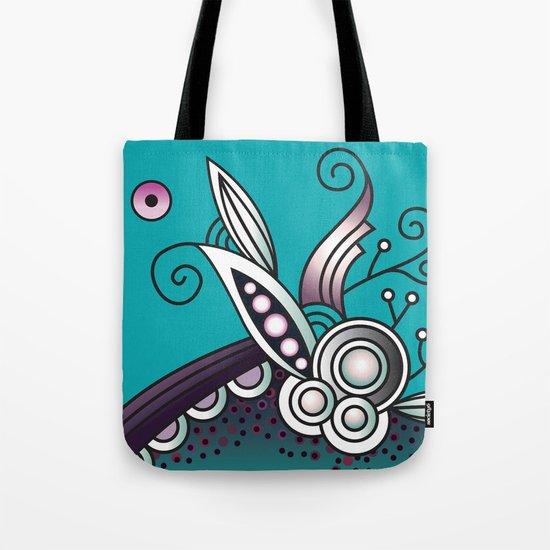Ornate square zentangle, Celadon turquoise Tote Bag