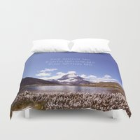 skyrim Duvet Covers featuring Skyrim Quote: Sky above me, Earth below me, Fire within me by Purshue feat Sci Fi Dude