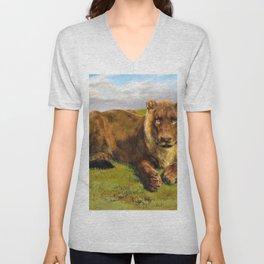 Lioness Posing - Digital Remastered Edition Unisex V-Neck