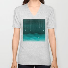 Falling stars, sailboat, teal, ocean Unisex V-Neck
