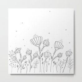 Black Doodle Flowers Art Illustration Metal Print