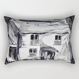 Welsh farm house, pen and ink wash, Wales Rectangular Pillow