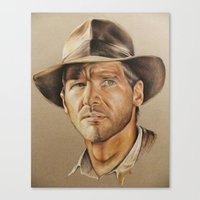 indiana jones Canvas Prints featuring Indiana Jones by Ashley Anderson