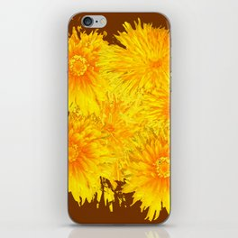 ABSTRACTED COFFEE BROWN   FIRST SPRING YELLOW DANDELIONS iPhone Skin