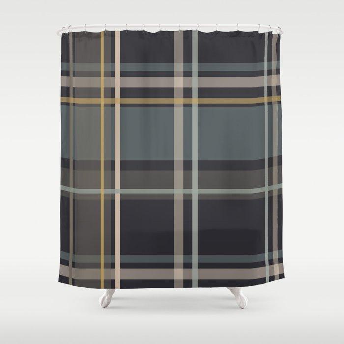 Midcentury Plaid Shower Curtain By Jenettekozlowski
