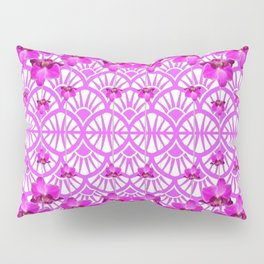 ABSTRACT PATTERNED PURPLE ART DECO  ORCHIDS Pillow Sham