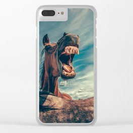 Horse Showing Teeth Clear iPhone Case