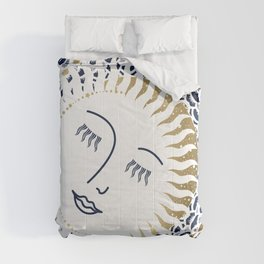 Resting Moon, Blue and Gold Comforters