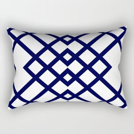 Geometric Pattern in Navy Blue Rectangular Pillow
