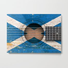 Old Vintage Acoustic Guitar with Scottish Flag Metal Print