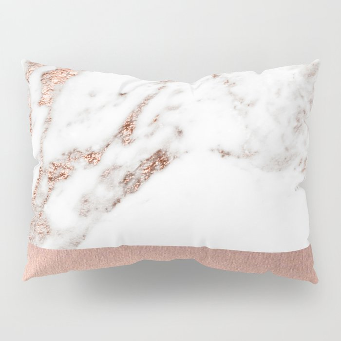Rose gold marble and foil Pillow Sham