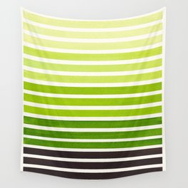 Sap Green Minimalist Abstract 15 Stripes Watercolor Gradient Wall Tapestry