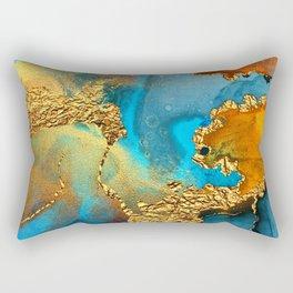 Abstract Glitter Gold and Blue Aqua Painting Rectangular Pillow