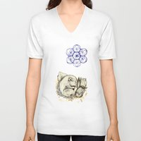 mouse V-neck T-shirts featuring Mouse by Freja Friborg
