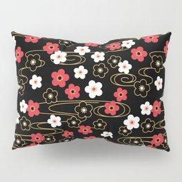 Black Sakura Kimono Pattern Pillow Sham