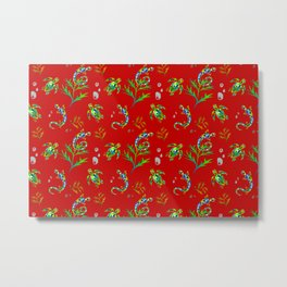 Turtles, lizard pattern red background  Metal Print