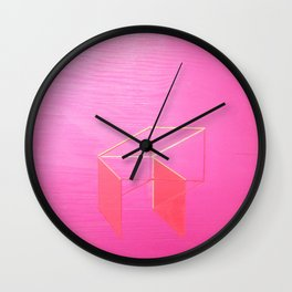 Little Boxes Exploded fuchsia & gold Wall Clock