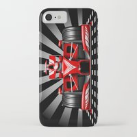 formula 1 iPhone & iPod Cases featuring Formula 1 Red Race Car by BluedarkArt