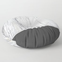 Scratched White Plaster and Charcoal Grey Lined Pattern Floor Pillow
