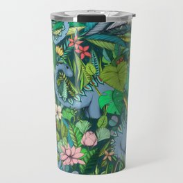 Improbable Botanical with Dinosaurs - dark green Travel Mug
