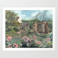 Waterfront Shack Art Print