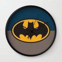 bat man Wall Clocks featuring Bat-Man by The Retro Inc