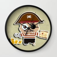 pirate Wall Clocks featuring PIRATE by AnishaCreations
