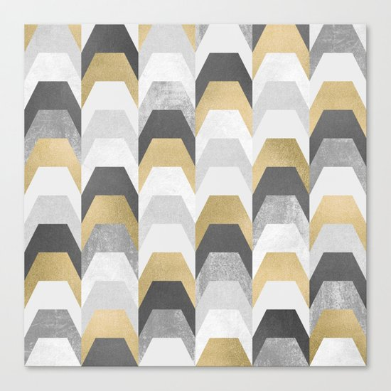 Stacks of Gold and Grey Canvas Print