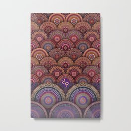 Rubino Zen Flower Yoga Mandala One World One Love Metal Print