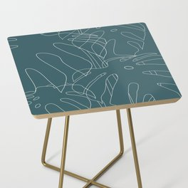 Monstera No2 Teal Side Table