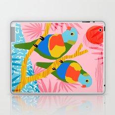 Besties - retro throwback memphis bird art pattern bright neon pop art abstract 1980s 80s style mini Laptop & iPad Skin