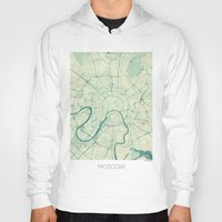 moscow Hoodies featuring Moscow Map Blue Vintage by City Art Posters