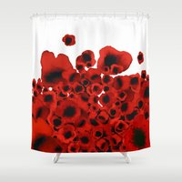 poppies Shower Curtains featuring Poppies by Marina Kanavaki
