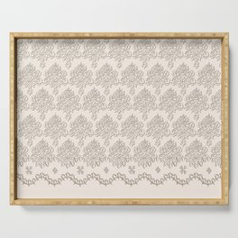 """Damask """"Cafe au Lait"""" Chenille with Lacy Edge Serving Tray"""