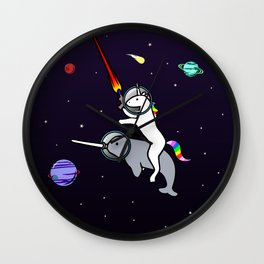 Unicorn Riding Narwhal In Space Wall Clock