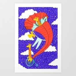 Flying Giraffe Art Print