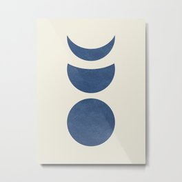Lunar Phase - Blue Metal Print