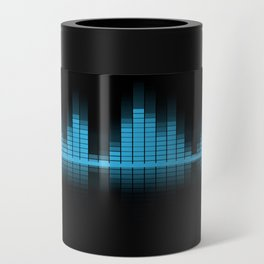 Cool Blue Graphic Equalizer Music on black Can Cooler