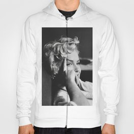 Marilyn Monro-e Art Canvas-Marilyn, White Bath Robe B&W Poster Canvas, Printed Picture Wall Art Decoration POSTER or CANVAS Hoody