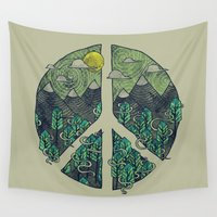 pun Wall Tapestries featuring Peaceful Landscape by Hector Mansilla